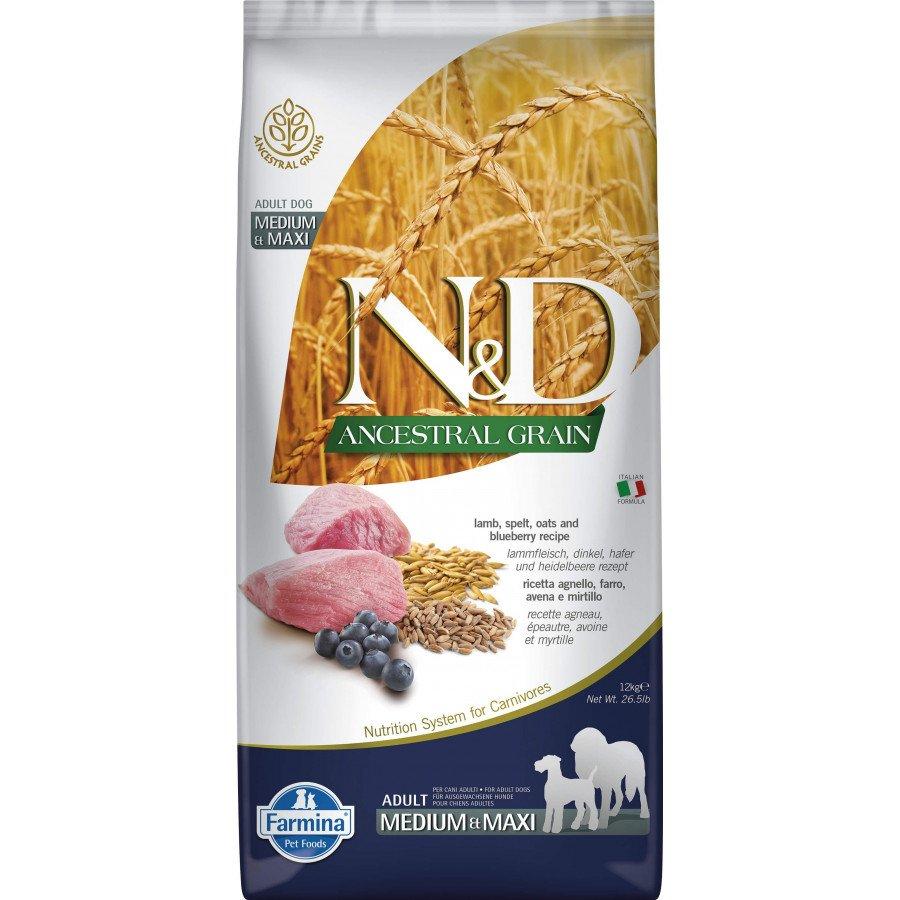 Farmina N&D Ancestral grain agneau myrtille pour chien adulte medium-maxi 12kg