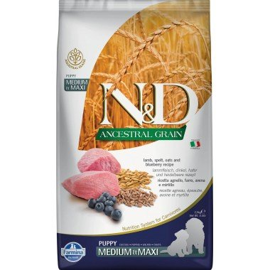 Farmina N&D Ancestral grain agneau myrtille pour chiot medium-maxi 2,5kg