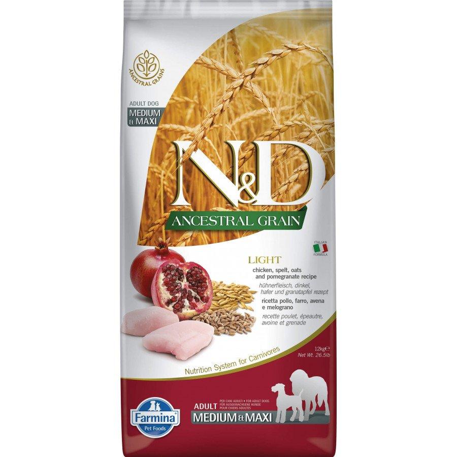 Farmina N&D Ancestral grain poulet grenade light pour chien adulte medium-maxi 12kg