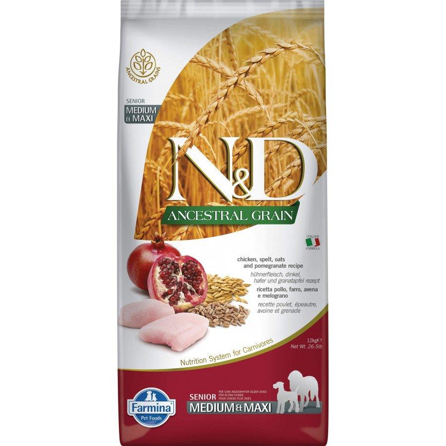 Farmina N&D Ancestral grain poulet grenade senior pour chien adulte medium-maxi 12kg