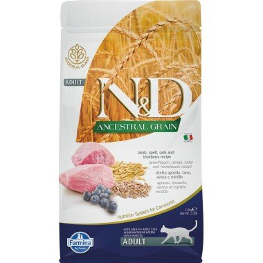 Farmina N&D Ancestral grain agneau myrtille pour chat adulte 1,5kg