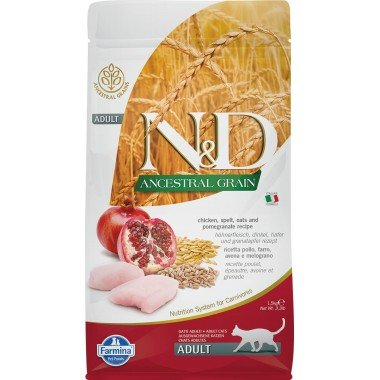 Farmina N&D Ancestral grain poulet grenade pour chat adulte 1,5kg