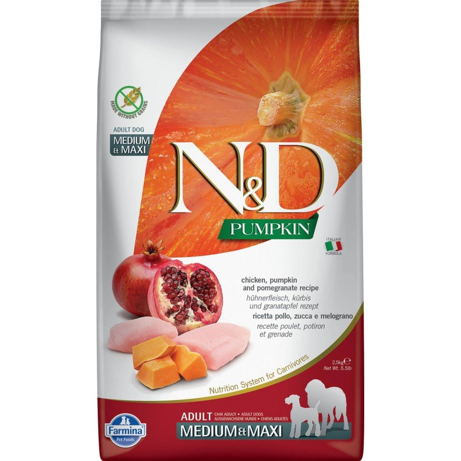 Farmina N&D Potiron grain free poulet grenade pour chien adulte medium-maxi 2,5kg